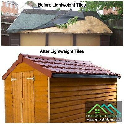 SHED ROOF TILE KIT (10x6) Pan Tile Roofing Sheets Recycled Ridge DryVerge Fixing • 259.99£