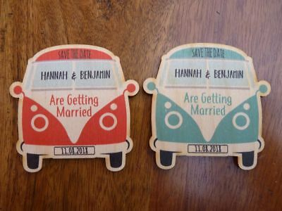 £19.99 • Buy VW Campervan Save The Date Fridge Magnets - Wooden Splitscreen Camper Wedding