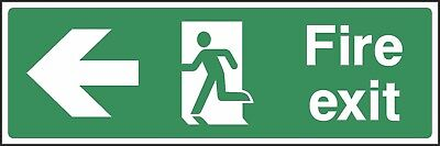 Fire Exit Left Sign [V6EMER0003] Emergency Escape Building Office Workplace • 0.99£