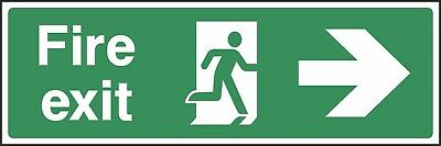 Fire Exit Right Sign [V6EMER0004] Emergency Escape Building Office Shop Safety • 0.99£