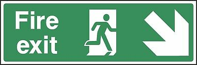 Fire Exit Down Right Sign [V6EMER0006] Emergency Escape Building Safety • 0.99£