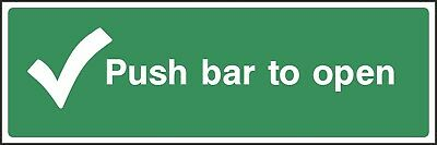 £0.99 • Buy Push Bar To Open Sign [V6EMER0039] Emergency Escape Building Office Work Safety