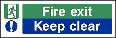 Fire Exit Keep Clear Sign [V6EMER0048] Emergency Escape Building Safety • 0.99£