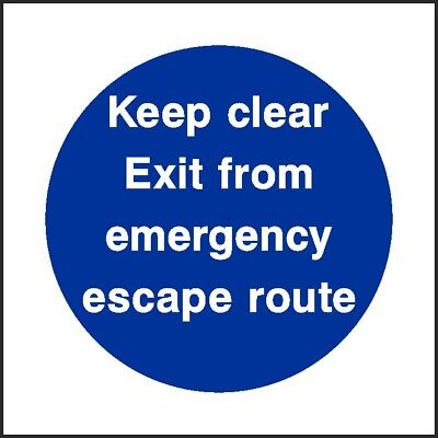 Keep Clear Emergency Escape Route Sign [V6FPRV0004] Fire Prevention Build Safety • 0.99£