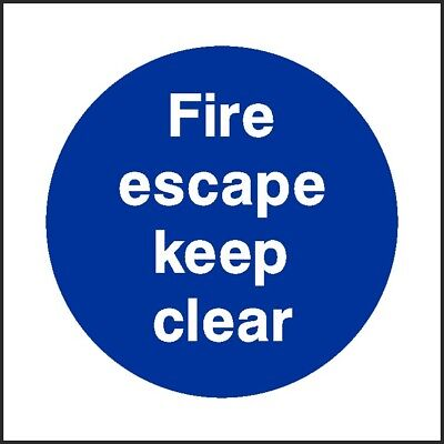 Fire Escape Keep Clear Sign [V6FPRV0005] Fire Prevention Building Safety • 0.99£