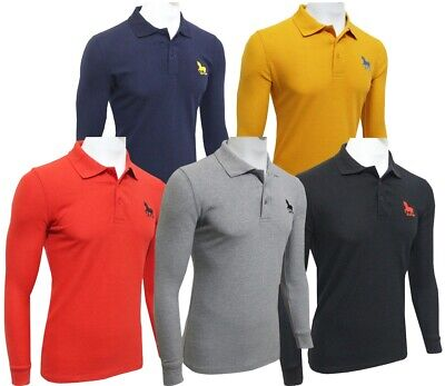 £9.99 • Buy New Mens Polo Shirts Long Sleeve Regular Fit Breathable Pique Casual Work Top