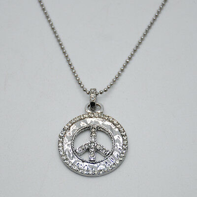 $ CDN10.71 • Buy Lia Sophia Signed Jewelry Silver Tone Peace Pendant Cut Crystal Necklace Chain
