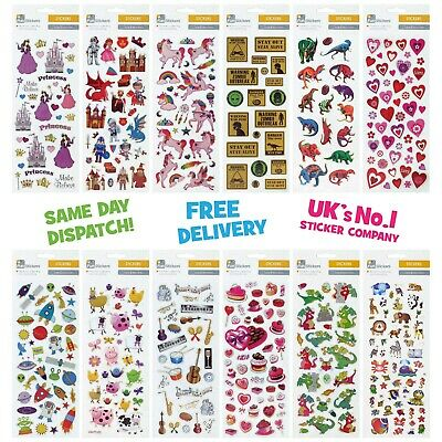 Fun Stickers Children Birthday Party Loot Bag Fillers Kids Decorating Cute Pack • 1.99£