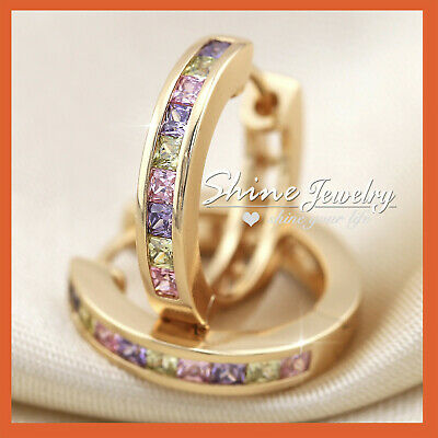 AU13.77 • Buy 18k Rose Gold Gf Rainbow Princess Square Crystal Sleeper Hoop Huggies Earrings