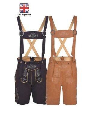 £34.99 • Buy Mens Bavarian LEDERHOSEN Synthetic Leather With Matching Suspenders Shorts
