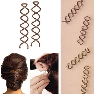 £1.99 • Buy 2 Hair Twist Quick Spiral Styling Women Clips Screw Pins Fashion Grips Spin Grip