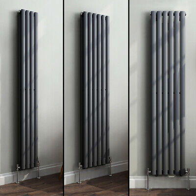 £74.95 • Buy Designer Vertical Oval Column Tall Upright Central Heating Radiator Anthracite