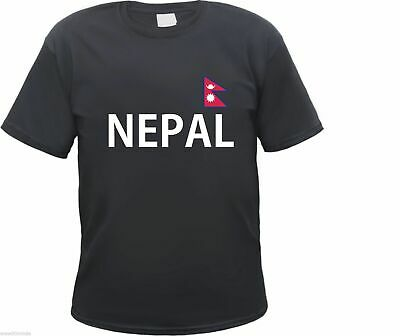 Nepal Men's - Black - Text And Flag Print - Kathmandu Asia Holiday • 10.17£