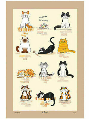 Funny Cat And Mice Tea Towel Printed Kitchen Towells Cotton Drying Cloths Towels • 8.99£