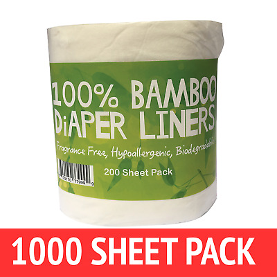 AU54 • Buy Bamboo Nappy Liners Insert Biodegradable Anti-Bacterial 5 Rolls = 1000 Sheets]