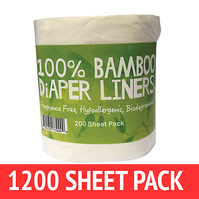 AU49.99 • Buy Bamboo Nappy Liners Insert Biodegradable Anti-Bacterial 6 Rolls = 1200 Sheets