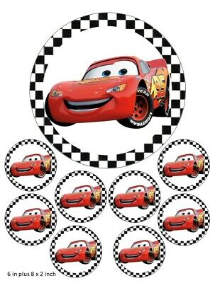 Lightning McQueen Cake Cupcake Toppers Birthday Disney Cars Lemons Birthday • 4.99£