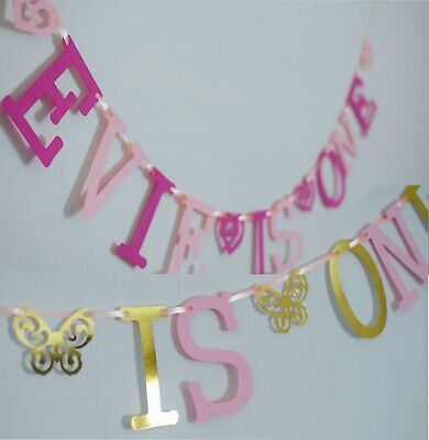 £4.95 • Buy Personalised GIRLS 1st BIRTHDAY BANNER PINK Bunting CAKE SMASH Party 2nd 3rd 4th