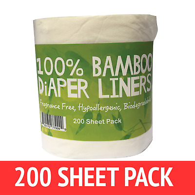 AU18.99 • Buy Bamboo Nappy Liners Insert Biodegradable Anti Bacterial 1 Roll = 200 Sheets