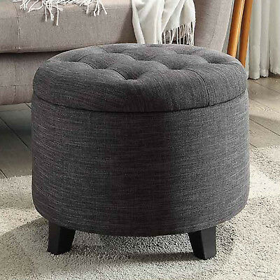 $91.69 • Buy Storage Ottoman Round Tufted Foot Stool Seat Contemporary Living Room Furniture