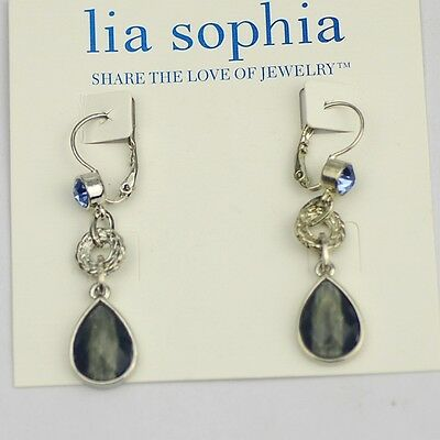 $ CDN12.96 • Buy Genuine Lia Sophia Jewelry Silver Plated Blue Cut Crystal Drop Dangle Earrings
