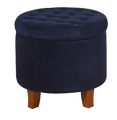 $93.69 • Buy Ottoman Storage Round Tufted Foot Stool Seat Contemporary Living Room Furniture