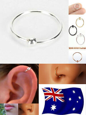 AU4.95 • Buy Pair Solid S925 Sterling Silver 22g Hoop Ring With Fix Ball Nose Ear Lip Nipple