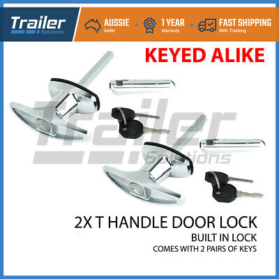 AU42.85 • Buy Chrome Rear Fixing T Handle Locks (Trailer Caravan Canopy Canopie Toolbox) X2
