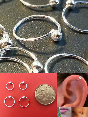 AU4.95 • Buy Pair S925 Sterling Silver 22g Hoop Ring With 2.5mm Fix Ball Nose Ear Lip Nipple