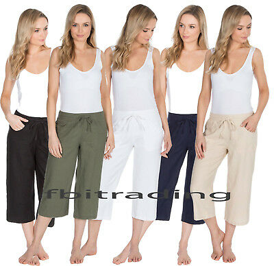 Ladies Cropped Linen Trousers Womens 3/4 Length Shorts Size 10 12 14 16 18 20 22 • 9.99£