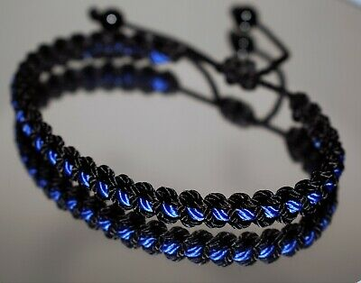 $8.49 • Buy Thin Blue Line Braided Bracelet -support Police Wristband -new -for Man & Woman