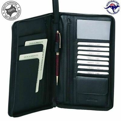 AU69.95 • Buy Men's Leather Long Passport Wallet Travel Wallet Credit Card Wristlet Organise