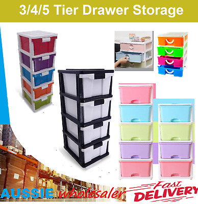AU52.45 • Buy  3 4 5 Tier Drawer Storage Organiser Plastic Level Office Box Cabinet Coloured
