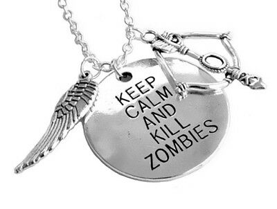 £2.99 • Buy Keep Calm And Kill Zombies Charms Necklace The Walking Dead Themed In Gift Bag