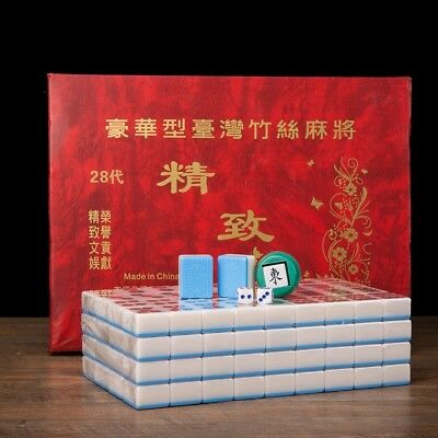 $57.33 • Buy Traditional Chinese Mahjong Game Set 144 + 2 Spares Blue Color Tiles