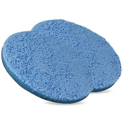 2  Blue Microfibre Pad 160mm - 6 Inch Hook Loop Machine Polishing Car Detailing • 10.95£