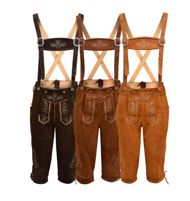 £44.99 • Buy Mens Bavarian LEDERHOSEN Real Suede Leather  With Matching Suspenders Shorts