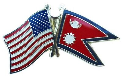 Wholesale Pack Of 24 USA American Nepal Friendship Flag Hat Cap Lapel Pin  • 26.16£