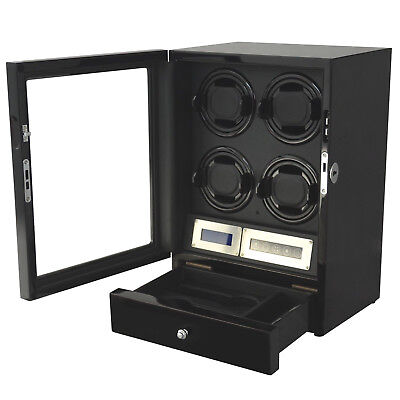 $ CDN423.88 • Buy 4 + 2 Watch Winder Black With Storage Drawer LED Touch Pad Controls W/ Remote