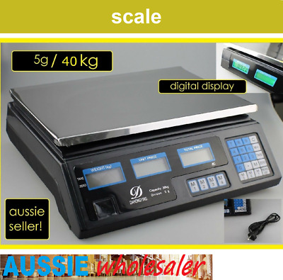 AU42.95 • Buy 40KG Electronic Kitchen Scale Digital LCD Shop Weight Scales Food Commercial