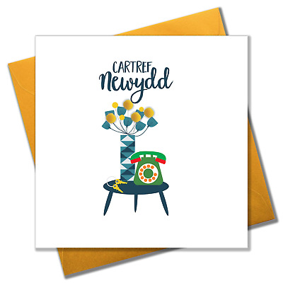 Welsh New Home Luck Card, Flowers & Phone, Congratulations, Pompom Embellished • 3.25£