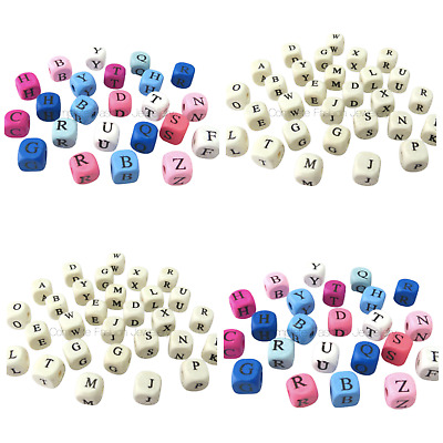 £2.99 • Buy New  52pcs 10mm Multi & Natural Coloured A-z Alphabet Letter Wooden Cube Beads