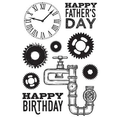 Kaisercraft Clear Stamps - Factory 42 6x4 - Father Dad Men Cogs Clock Pipes • 6.99£
