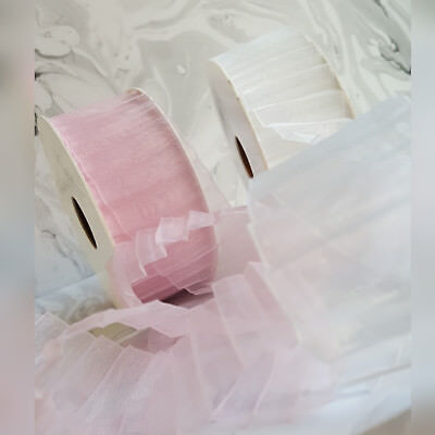£1.19 • Buy 15, 40mm Pleated Organza Ribbon. Pink Or White Wedding Pleat Striped Invite