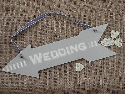 Wedding Hanging Arrow Plaque Sign Shabby Chic Venue Decoration East Of India • 3.89£