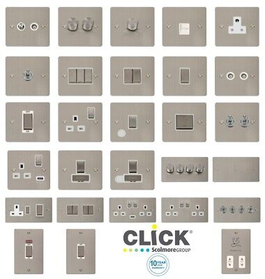 Click Define 'INGOT' Flat Plate Stainless Steel Switches And Sockets With White  • 14.43£