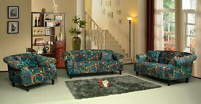 £449.99 • Buy Patchwork Fabric Sofa Suite Set Sofas BELLINI RANGE Couch Settee Luxury Branded
