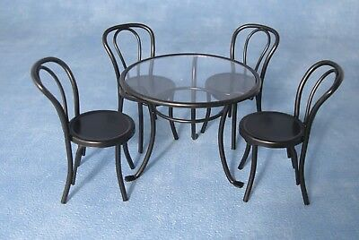 Dolls House Miniature Metal Table And 4 Matching Chairs, Black Or White  • 19.35£
