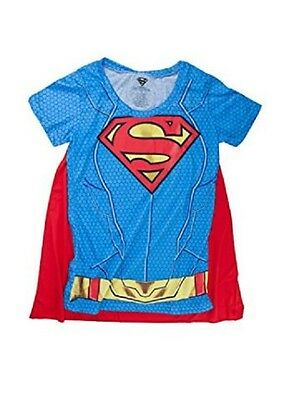 £14.51 • Buy DC SUPERGIRL Sublimated Junior's Costume T-Shirt With Removable Cape S-XL