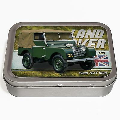 Personalised Land Rover MK1 2oz Tobacco Tin Classic Car Baccy Gift CL28 • 8.95£